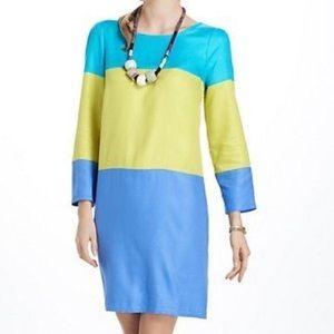 Maeve Anthropologie color block shift dress blue 0